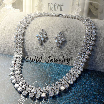 Super Luxury 2015 Nigerian Wedding Accessories African CZ Diamond Beads Jewelry Sets Crystal Bridal Necklace For Brides (T111)