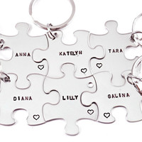 Bridesmaid Gift Puzzle Piece Set- 6 Puzzle Pieces - Hand Stamped Puzzle Piece Key Chain Set of 6 - Wedding - Bridal Party