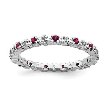 Sterling Silver Stackable Expressions Ruby & Diamond Alternating Eternity Ring