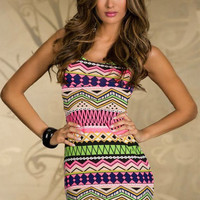 Pink Tribal Print Sleeveless Cut-Out Back Bodycon Mini Dress