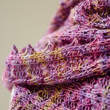 Silk knitted cowl, silk möbius scarf, wool cowl, snood, knitted wrap, purple colour hand dyed yarn 'Tuck'