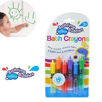 6Pcs/Set Baby Bath Toy Baby Bath Crayons Toddler Washable Bathtime Safety Fun Play Educational Kids Toy