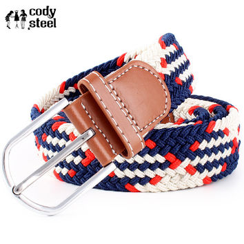 Cody Steel Luxury Women Belts Casual Pin Buckle Unisex Fashion Belts Weave Elastic Belts Men Knitted Belt