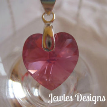 Children's Pink Swarovski Crystal Heart Charm and sterling silver, children's Jewellery, Necklace,  JewlesDesigns on Etsy