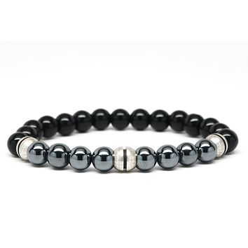 Black Onyx and Silver Hematite Gemstones for Chakra Healing and Balancing, fits Men and Women 7 inch-Adds Boho Charm to Any Outfit, by Orti Jewelry