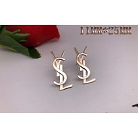 YSL Moschino Stylish Ladies Simple Metal Letter Earrings Stud Earrings 7#