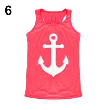 Loose Vest Casual Tank Top - Blouse Anchor Logo - Bowknot Back - Pink Red