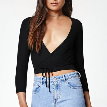 John Galt Wrap Long Sleeve Top at PacSun.com