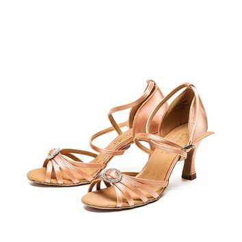 Sansha  Satin Latin Dance Shoes Women Bling Buckle Tango Salsa Ballroom Dancing Shoes 7.5CM   BR31038S