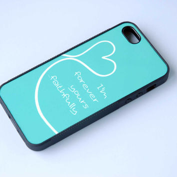 Personalized Phone Case, Song Lyrics in Mint Blue, Rubber Silicone Custom iPhone Case, iPhone 6 Case, Wedding, Forever Yours