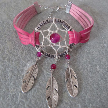 Antique Silver Dream Catcher Bracelet , Feather Bracelet , Agate Beads Bracelet ,Native American Jewelry