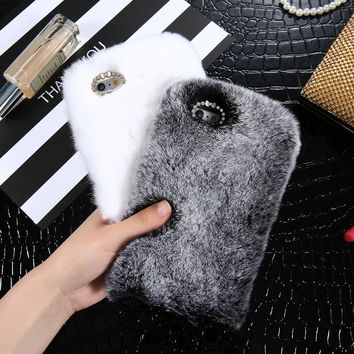 KISSCASE Genuine Rabbit Fluffy Fur Cases For iPhone 6 6s 7 8 Plus Fluffy Plush Phone Case For iPhone 5 5S SE 10 X Luxury Capinha