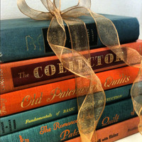 Pumpkin,Autumn, Wedding,Fall Color,French Country Home,House Warming Gift, Vintage,Old Books,Instant Book Collection
