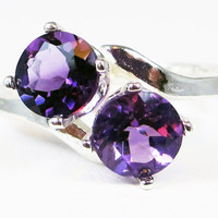 Amethyst Two Stone Ring - Sterling Silver