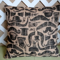 Mustache and Top Hats Pillow Cover in Tan Burlap with Black