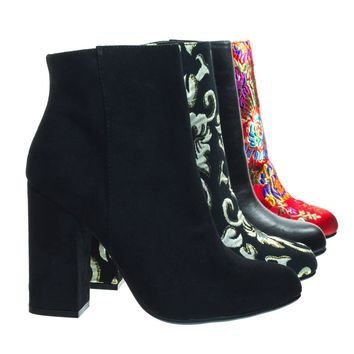 Namaste05 Black F-Suede by Bamboo, Floral Embroidery Block Heel Ankle Bootie w Faux Fur Lining