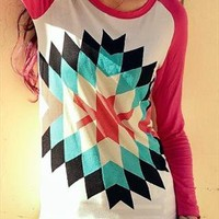 Geometrical Pattern Sweatshirt - Red from Bblythe
