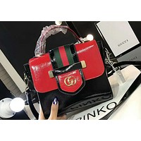 GUCCI 2018 spring and summer women's fashion trend shoulder bag F-AGG-CZDL red