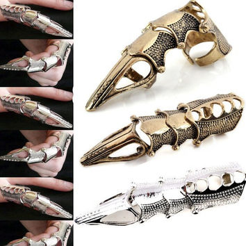 Silver Bronze Punk Gothic Men's Alloy Claw Spike Armor Knuckle Joint Full Finger Ring