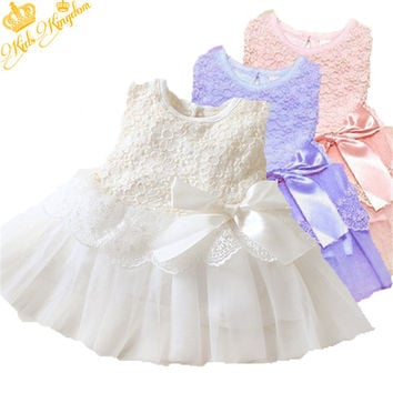 Baby Girls Dress Children Cotton Ball Gown Wedding Kids Bow Lace Princess Tutu vestidos Clothes 0-2Y