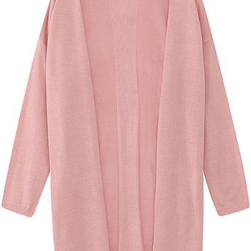 Pink Long Sleeve Knitted Cardigan
