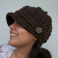 Crochet Newsboy Cap with Buttons Brown by SoLaynaInspirations