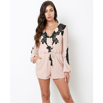 I Am Here Romper - Nude/Black