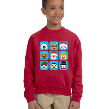 Kids Crewneck Christmas Icons Cute Holiday Symbols Top