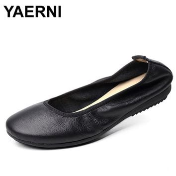YAERNI Fashion Brand Women Shoes Leather Ballerina Ballet Flats Foldable And Portable Travel Pregnant Shoes For Bridal Wedding