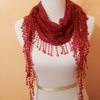 Maroon colored lacy scarf, triangular