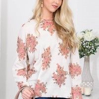 Rosy Floral Cream Top