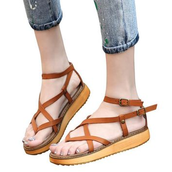 Platform Gladiator Sandals Split Leather Summer Flip Flops Creepers Shoes