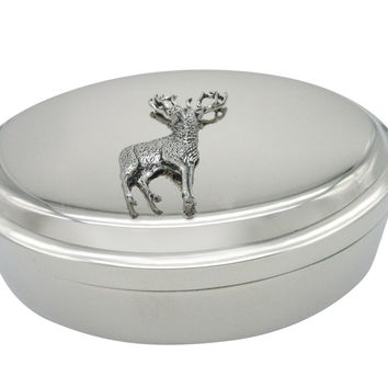 Stag Deer Pendant Oval Trinket Jewelry Box