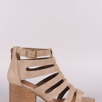 Qupid Nubuck Caged Cutout Chunky Heeled Booties