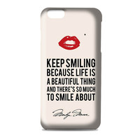 Marilyn Monroe Keep Smiling Quote 3D Iphone | 4s | 5s | 5c | 6s | 6s Plus | Case