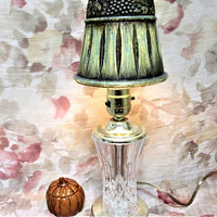 Lamp Accent Glass Crystal Brass Lead Vanity Light Bedside Interior Ceramic Shade