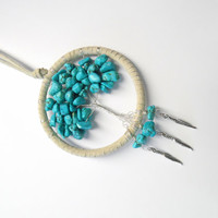 Turquoise dyed howlite tree of life dream catcher, car dream catcher, 3.5 inch ring