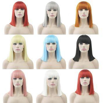 Short Straight Fiber Hair Wig