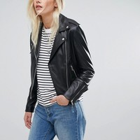 Lab Leather Biker Jacket at asos.com