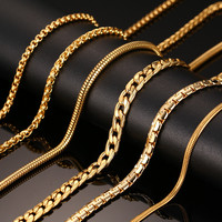 Fashion Silver&Gold Plated Chain Necklace For Men Women Stainless Steel Snake Chain