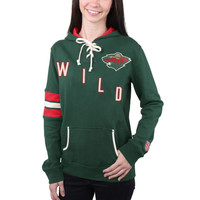 Minnesota Wild Old Time Hockey Women's Nadia Lace-Up Pullover Hoodie – Green