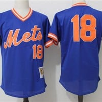 Men's New York Mets Darryl Strawberry Mitchell & Ness Royal Cooperstown Mesh Batting Practice Jersey
