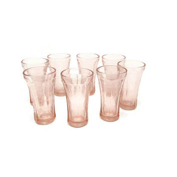 Madrid Tumbler Pink Recollection Pattern - Indiana Glass Pedestal Pink Drinkware - Water Glasses - Wedding Decor Cottage Chic Etched Glasses