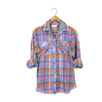 Colorful Plaid Shirt 80s Surfer Shirt Button Up Colorful Rainbow Colors Vintage Pink Blue Hipster Boho Preppy 1990s Blouse Womens XS Small