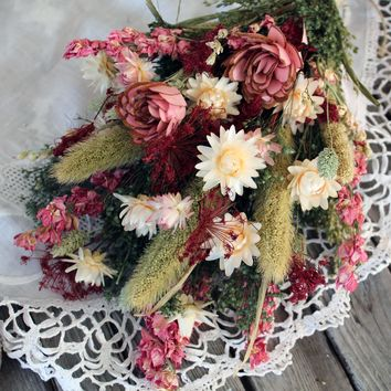 Dried Flower Bouquet Pink Natural Bridal Weddings Home Decor