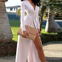 White Deep V Front Slit Maxi Dress