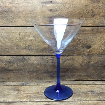 Martini Glass with Wavy Blue Colored Stem