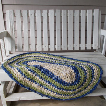 Crotchet Rag Rug made upcycled cloth sage yellow navy kitchen floor mat bathroom mat home decor kids room rustic oval