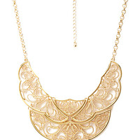 FOREVER 21 Filigree Bib Statement Necklace Gold One