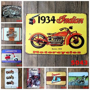 Vintage Metal Sign Tin Motorcycle  Home Bar Pub Garage Decoration